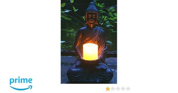 Portacandele Da Giardino : Tiaan cm altezza statua di buddha buddha zen portacandele