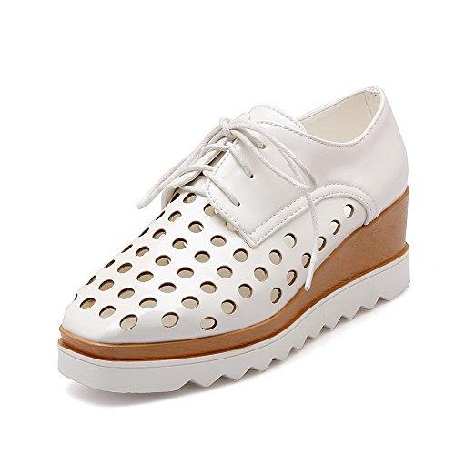 VogueZone009 Femme Lacet à Talon Correct Pu Cuir Carré Chaussures Légeres Blanc