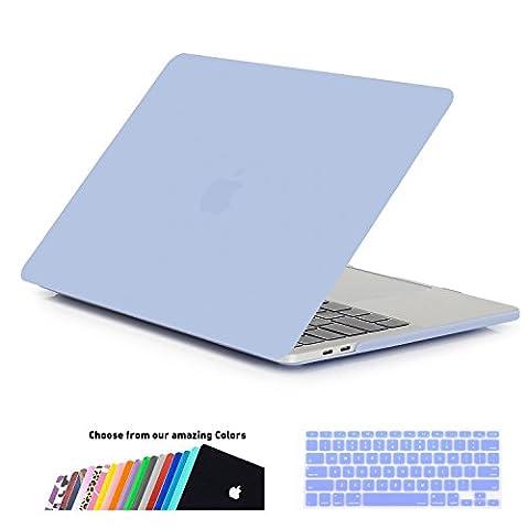 MacBook Air 13 Hülle Schale,iNeseon Ultra Slim Plastik Hartschale Tasche Case Cover Zubehör, US Serenity Blue und EU Transparent Tastaturschutz Schutzhülle für Apple MacBook Air 13.3 Zoll [Modell:A1466 und A1369] (Serenity Blue)