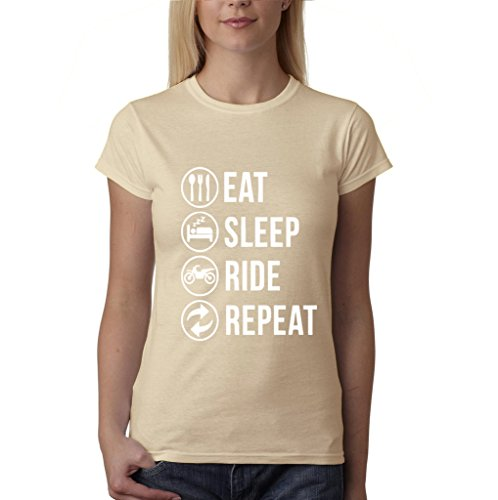 Eat sleep ride repeat Womens T Shirts White Sand XL UK 16 Euro 40 Bust 38""