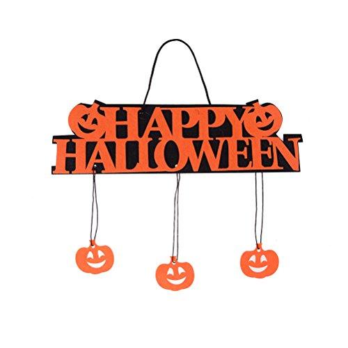 Tür-Schild Happy Halloween Tür-Anhänger Fensterschild Kürbis Geister Dekoration Wanddeko Party Türdeko Hängeschild schwarz orange