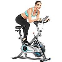 ANCHEER Bici da Spinning Cyclette con Volantino di Inerzia 22 kg/ 10 kg Display LCD, Sensore di Impuls, Collega con l…