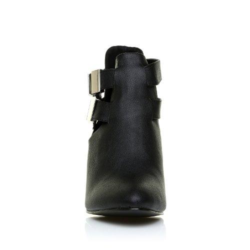 MARLEY Scarpe da donna con tacco a blocco colore nero pelle PU nero PU