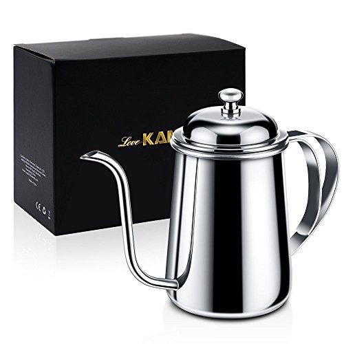 Love-KANKEI® Wasserkessel Edelstahl Kaffeekanne für einen perfekten, per Hand aufgegossenen Filterkaffee, 650ml