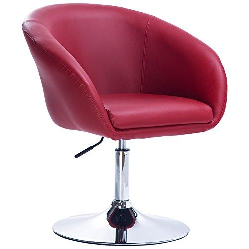 Woltu® bh24bd-1 poltrona da bar sedia da scrivania sgabello girevole studio cucina sofa poltroncina con schienale braccioli imbottiti ecopelle cromato altezza regolabile bordeaux