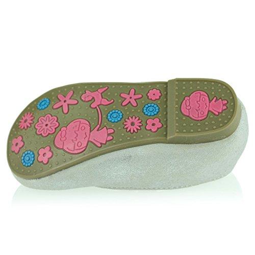 Kinder Mädchen Glänzend Obere Elastische Patchwork Detail Riemenverschluss Flache Pumpe Gepolsterte Sohle Ballett Flats Sandale Schuhe Größe Silber