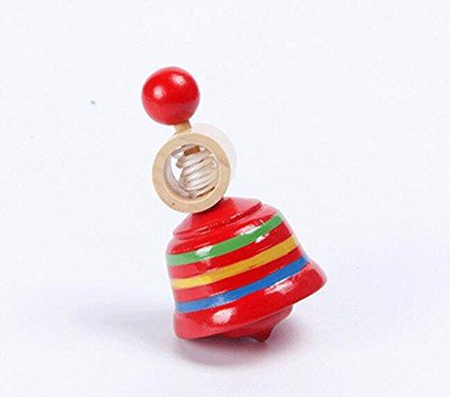 Abenily Mögliche Spielsachen Hölzerner gemalter Netter Zug-Art-drehender Kreiselkompaß-pädagogisches Spielzeug (rot)