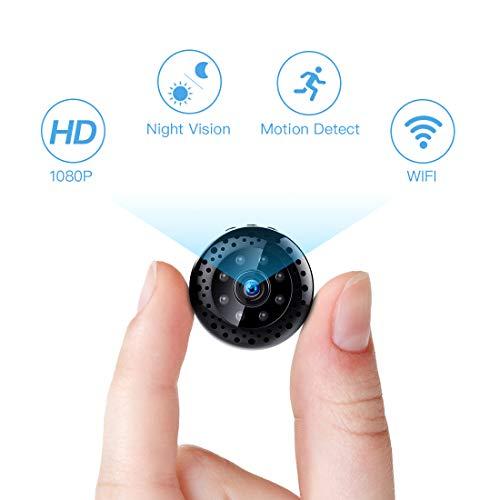 Mini Kamera,FREDI HD 1080P Mini Überwachungskamera Tragbare WLAN WiFi Netzwerk IP Kleine Kamera P2P Drathlos mit Bewegungsmelder Mikrofon Videoaufzeichnung übertragung akku - Infrarot überwachungskamera