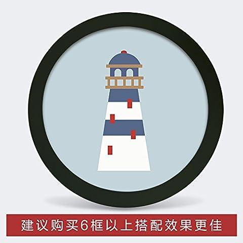 Photo Frame parete fumetto creativo cornice rotonda famiglia soggiorno camera da letto TV decorazioni a parete immagine di sfondo frame , piccolo cerchio bianco (diametro) 1 ,19cm