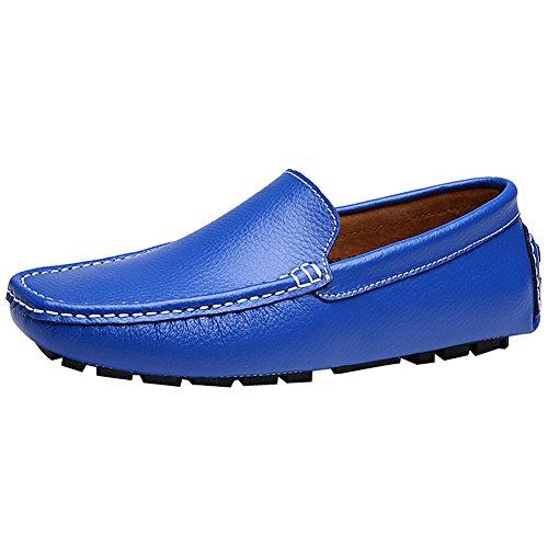 Rismart Hommes Doux Grain Complet Cuir de Deuxième Couche Mocassins de Conduire Confort Penny Chaussure Bateau Bleu Royal