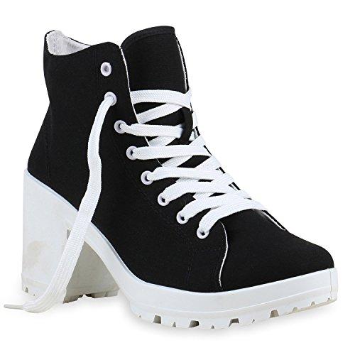 Kostüme Schwarzen Und Weißen (Damen Schnürstiefeletten Stoff Profilsohle Blumen Ankle Boots Stiefeletten Schuhe 132339 Schwarz Weiß 38 |)