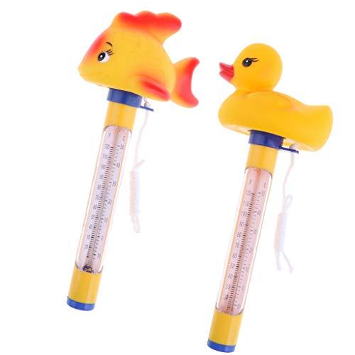 B Blesiya 2pcs Thermometer Analog mit Schnur für Pool/Teich/Schwimmbad