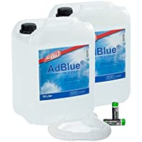 Hoyer AdBlue® 2 x 10 Liter Kanister Ausgießer für Audi, VW, Mercedes + 2 Stück Musterbatterien Mignon AA CardioCell Plus Batterien Erstausrüster Qualität