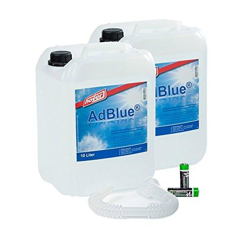 AdBlue 2 x 10 Liter Kanister von Hoyer mit Ausgießer für Audi, VW, Mercedes + 2 Stück Musterbatterien Mignon AA CardioCell Plus Batterien Erstausrüster Qualität