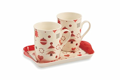 Villa d'Este Home Tivoli Patchwork Set Mug con Vassoio, Bone China, Multicolore, 3 Unità