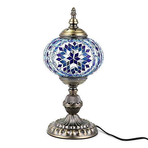 Kindgoo Orientalische Marokkanische lampe Vintage Nachttischlampe für Schlafzimmer Led Glühbirne Enthalten 17 x 36cm (blau)