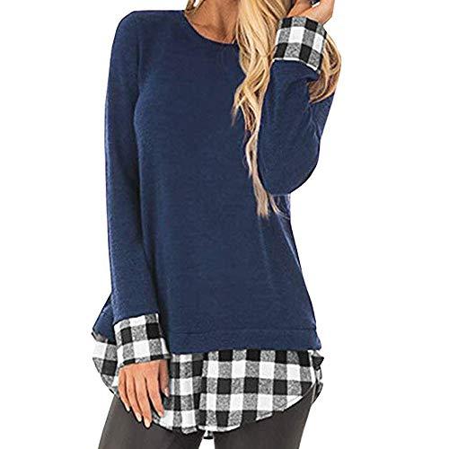 Camisas de otoño Invierno,Dragon868 2019 otoño Invierno Mujeres jóvenes Casual Plaid Patchwork Camisas de Polo túnica Blusa
