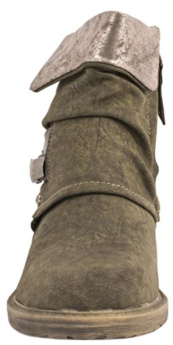 Biker Stiefeletten Prints York Damen New Schnallen Lederoptik Gef眉ttert Elara Boots Metallic Grau Nieten F51qAIw