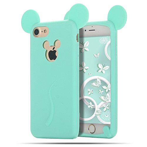 iphone 6 Plus Hülle , iphone 6s Plus Tasche , MoEvn Ultradünnen Weich TPU Silikon Schutzhülle mit 3D Mint grüne Mickey Muster HandyHülle mit Slow Rising Anti Stress Design Case Cover für iphone 6 6s Plus (5.5 Zoll) , Mint grüne Mickey