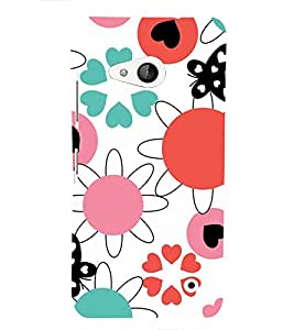 ANIMATED FLOWERS AND BUTTERFLIES PATTERN ON A WHITE BACKGROUND 3D Hard Polycarbonate Designer Back Case Cover for Nokia Lumia 550 :: Microsoft Lumia 550
