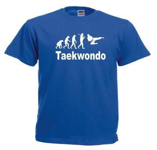 Evolution Taekwondo T223 Unisex T-Shirt Textilfarbe: blau, Druckfarbe: weiß