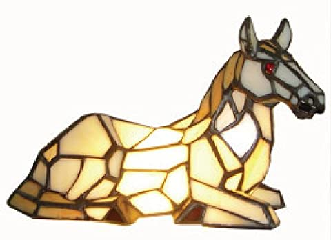 AT011 - 22cm Horse Design Tiffany Stained Glass Table