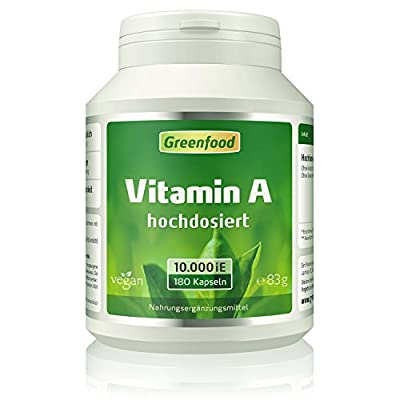 Greenfield – Vegan Vitamin A, 10,000 IU, Extra Hochdosiert Vegi Capsules – Contains no artificial additives from Biofood Natural Products