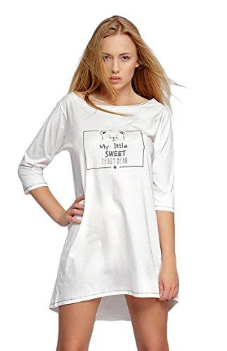 SENSIS modisches Nachthemd (Made in EU) Sleepshirt mit praktischen 3/4-Ärmeln aus Baumwolle, Ecru mit Teddy, Gr. L/XL (40/42) -