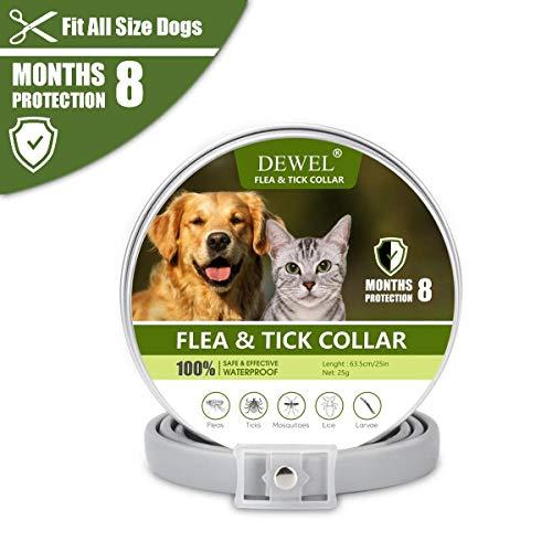 DEWEL Anti Floh und Zecken Halsband Hunde und Katze, 63,5cm Zecken Halsband Wasserdicht Hund Flohhalsband