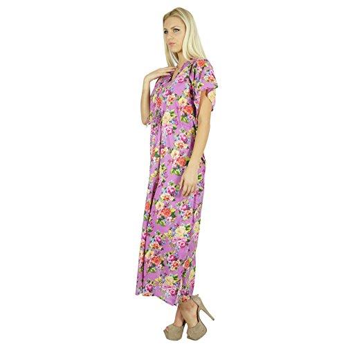 Bimba Femmes Long Coton Kaftan floral blanc de nuit robe Caftan classique Violet