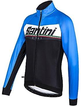 Santini 365 FW50775MERID - Santini Meridian Warmsant Winter Jacket Turquoise/Black Small