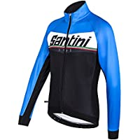 Santini 365 FW50775MERID - Santini Meridian Warmsant Winter Jacket Turquoise/Black Small
