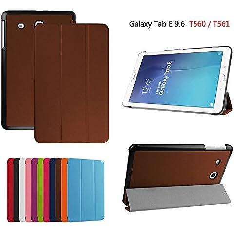 Custodia per Samsung Galaxy Tab E 9.6-Inch SM-T560, DEENOR PU pelle Ultra sottile con Smart Auto Sonno / Sveglia la Funzione Custodia Cover per Samsung Galaxy Tab E 9.6-Inch SM-T560/SM-T561 Tablet. (BROWN)
