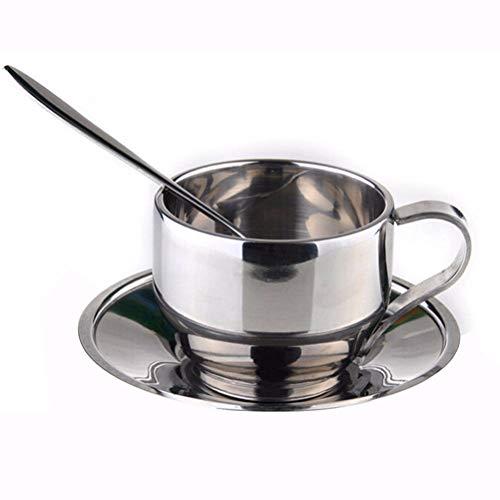 Romote Kaffeetasse Set Edelstahl Doppelschalig Insulated Kaffeetasse mit Untertasse und Löffel 1 Set
