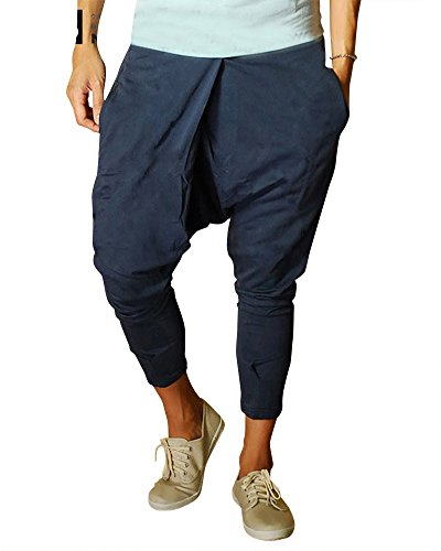 Hombres Harem Pantalones Pantalón Pantalones de Deportes Fitness Suelto  Entrepierna Pantalones Armada S 01ce6140069e