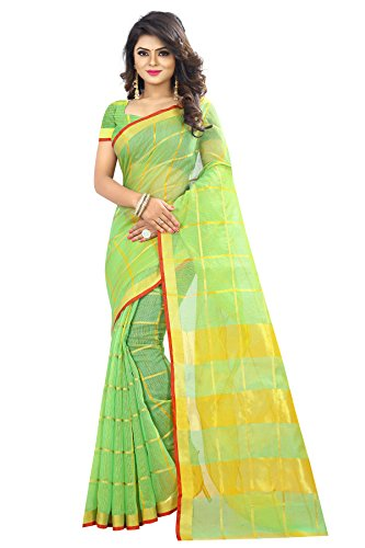 Chakudee Women's Green Colour Cotton Silk Saree With Blouse Piece Material