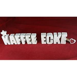 Beton, Steinguss Buchstaben 3 D Deko Schriftzug Namen KAFFEE ECKE als Geschenk verpackt!