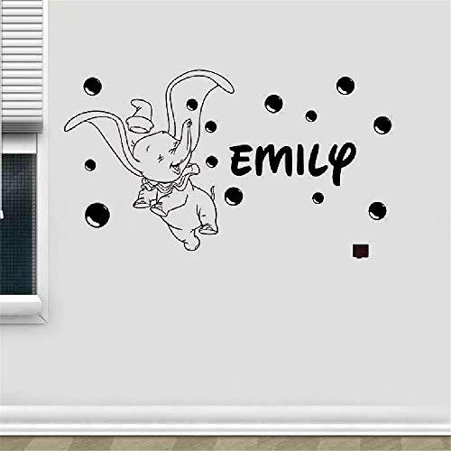 Wandaufkleber Kinderzimmer Wandtattoo Kinderzimmer Maßgeschneiderte personalisierte Dumbo-Elefanten mit Blasen Wandaufkleber Kinder Jungen & Mädchen Kindergarten Schlafzimmer
