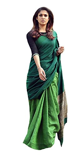 PaariJaatham.Com's Women's Linen Saree With Blouse Piece (Pc-26_Green)