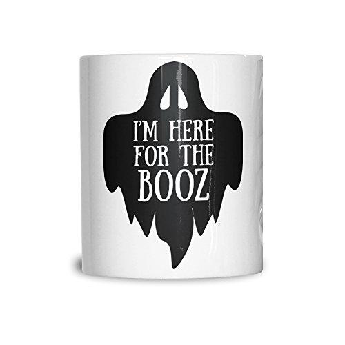 Ich bin hier für das Booz Halloween Slogan Lustige Alkohol 11Oz Keramik Tasse (Halloween Kostüme Wortspiele)