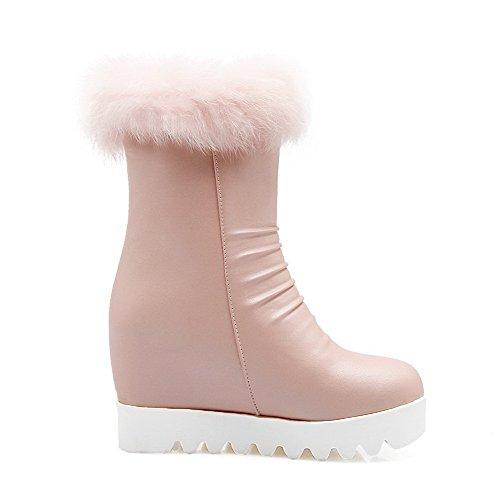... AllhqFashion Damen Weiches Material Reißverschluss Hoher Absatz Niedrig-Spitze  Stiefel Pink ...