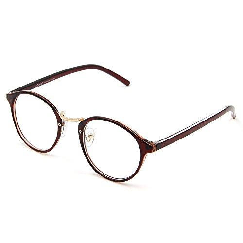 Cyxus filtro luce blu occhiali rétro tondo telaio [ceppo anti-occhio] Anti affaticamento della vista ottimo per computer/gioco/telefono (Marrone)
