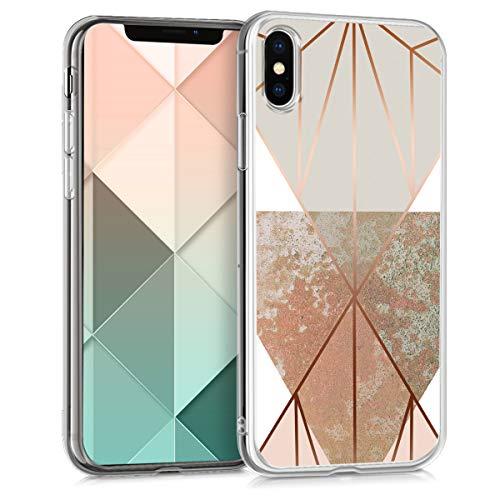 kwmobile Apple iPhone X Hülle - Handyhülle für Apple iPhone X - Handy Case in Glory Dreieck Design Beige Rosegold Weiß