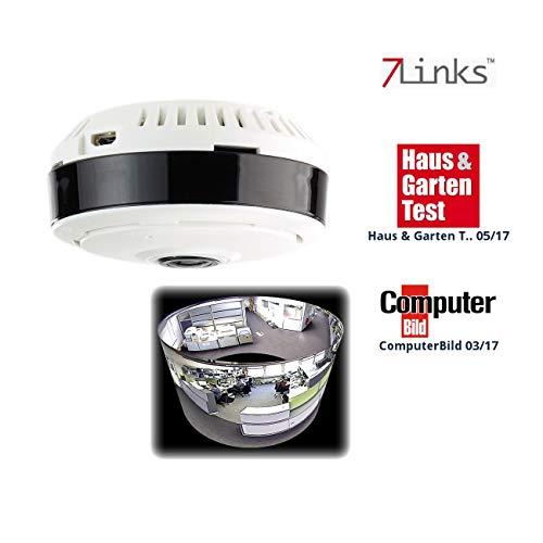 7links Überwachungskameras: IP-Panorama-Überwachungskamera für 360°-Rundumsicht & Nachtsicht, 960p (Überwachungskamera 360 Grad)