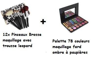 Palette De 78 Couleurs Ombres À Paupières + Set De 12 Pinceaux Brosses Avec Sa Trousse Léopard de SEA SEX AND SUN FR