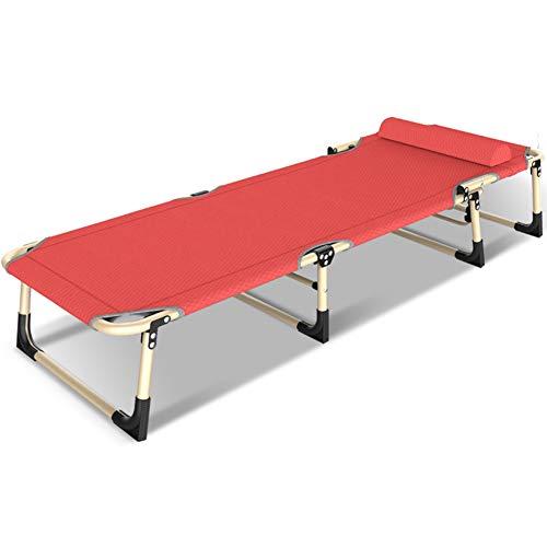 Klappbett Mittagessen Bett mit stabilem Metall-Rahmen Siesta Lounge Office Einfache Bett Marschierende,Red -