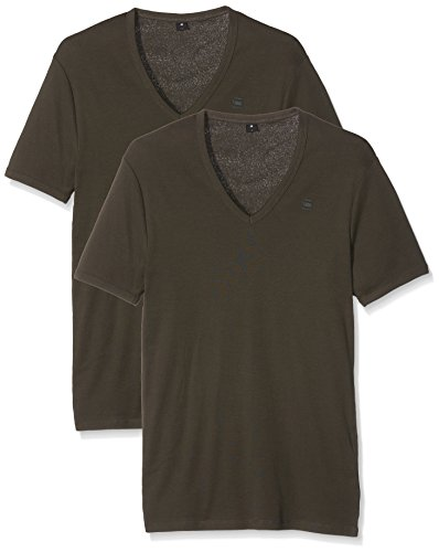 G-STAR RAW Herren T-Shirt Base V T S/S 2-Pack Grau (Asfalt 995)