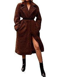 FNKDOR Femme Manteau Épais Fausse Fourrure Parka Manche Longue Streetwear  Cardigan Veste de Poche Mode Hiver e09750f05fe4