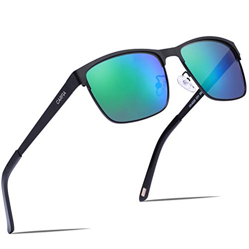 Carfia Polarisierte Herren Sonnenbrille Modische Metallrahmen Fahrer Sonnenbrille 100% UV400 Schutz für Golf, Autofahren, Outdoor Sport, Angeln (Gestell: Schwarz, Gläser: Grün) Schwarzen Gläsern