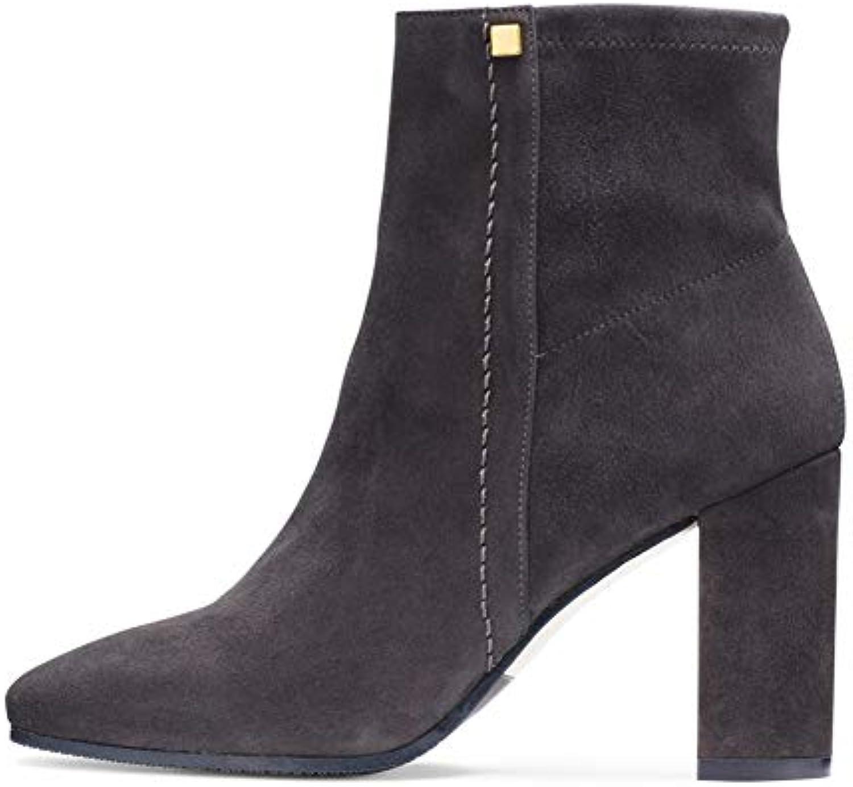 ¥*Shoes Bottes Femme Couleur Unie Pointu Daim épais Talon épais Daim Talons Haut Bottillons Les Chaussures 63dbb8